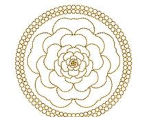 AUF Verkauf GOLDEN Circle Mandala 4 Maschine Stickerei Design 4 x 4 Reifen Redwork Instant Download