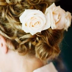 An ivory chapel-length veil paired with ivory roses tucked under her hair completed Allison's romantic style. Wedding Up Do, Camp Wedding, Wedding Styles, Wedding Ideas, Chapel Length Veil, Vintage Country Weddings, Country Wedding Inspiration, Messy Curls, Flower Crown Hairstyle