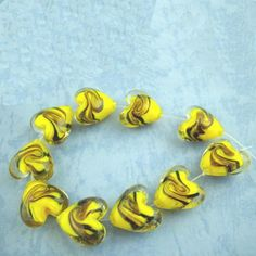 Yellow And Brown, Gold Foil, Illusions, Glass Beads, Artisan, Shapes, Handmade, Crafts, Color