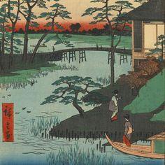 Arriving for Tea Ceremony - Ukiyo-e woodblock prints Edo Japan
