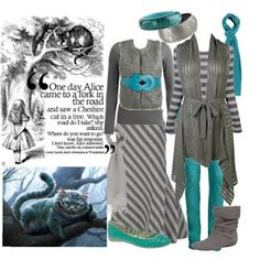 Alice in Wonderland-Inspired Outfit: Cheshire Cat - We're All Mad Here! Gray and Turquoise!! Stripes! Layers!