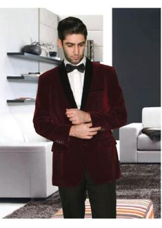 Stay Stylish, Stay comfortable with mens 2 button shawl lapel burgundy velvet jacket for men.