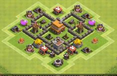 Best Town Hall 4 War, Farming and Hybrid Bases Anti Giants These base designs can defend giants archer and barbarians with ease. Town Hall 4, Clash Of Clans Game, Layout, Base, Sneakers, Design, Games, Cool Art Drawings, Town Hall