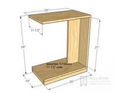 DIY Furniture Plan from Ana- This simple little C table makes a modern nightstand or a quick snack table. Rolls under the couch to put a laptop in your lap. Diy Sofa Table, C Table, Sofa Side Table, Sofa Tables, Coffee Tables, Easy Table, Diy Furniture Plans, Wood Furniture, Furniture Design