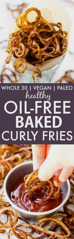 Healthy Oil-Free Bak Healthy Oil-Free Baked Curly Fries (Whole30, V, GF, P)- Easy, fat-free potatoes which are crispy, easy and the perfect spice blend- The perfect snack or vegetable side dish! vegan, gluten free, paleo recipe=thebigmansworld.com https://www.pinterest.com/pin/451556300129922253/