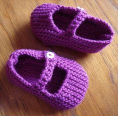 Garter Stitch Baby Mary Janes