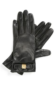 Kate Spade Leather Bow Gloves with tech-friendly fingertips...