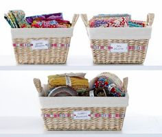 Sorted Storage: Coordinate fabrics by designer, style, manufacturer or type, and store in labelled baskets. Sewing Room Decor, Sewing Room Organization, Sewing Rooms, Organizing Ideas, Creative Closets, Hanging Fabric, Organize Fabric, Quilting Room, Fabric Storage