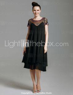 Chiffon Sheath Scoop Knee-length Cocktail Dress With Beaded Neckline - US$ 129.99