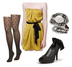The last outfit would be perfect to wear somewhere special that requires a formal outfit (perhaps something like the Yule Ball). When I think of a Hufflepuff girl, I picture one of those bubbly, sweet girls that everyone loves. With that in mind, I chose this pleasant little yellow dress, adorable patterned tights and heels adorned with bows. I also used a ring made from a recycled spoon, since Helga Hufflepuff was talented with food.