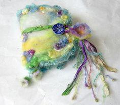 felted wool journal art book  - enchanted forest art diary - secret garden of violets journal