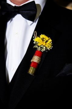 WEDDING FLOWER TUTORIALS: http://www.wedding-flowers-and-reception-ideas.com/make-your-own-wedding.html     Shot gun shell boutonnieres  with Viking pomps
