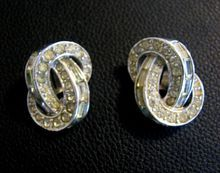 1950s Signed Boucher Rhinestone Clip Earrings