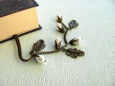 Bookmark, Bronze bookmark, Antique bronze, Metal, Pearl bookmark, Ocean Life, Beaded bookmark, Unique bookmark