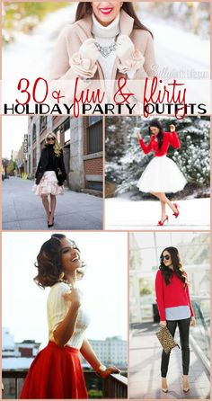 30 + Fun and Flirty Holiday Party Outfits, from fancy to casual, ideas for the perfect party outfit! - ThisSillyGirlsLife.com #HolidayOutfits #CuteOutifts