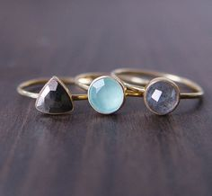 Aqua Chalcedony Gold Ring by friedasophie on Etsy