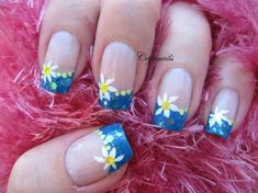 Sparkly french tip with flower - Nail Art Gallery by NAILS Magazine