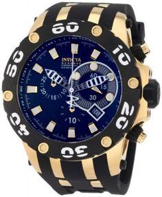 Relógio Invicta Men's 0913 Reserve Chronograph Black Dial Rubber Watch #Relogio #Invicta