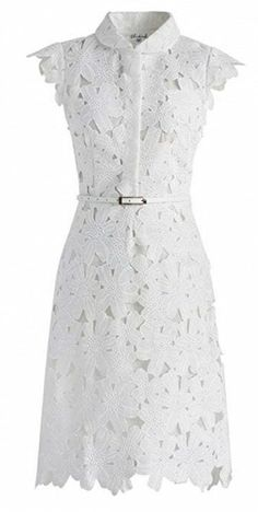 Retro Dresses Full Flower Cut Out Midi Dress - Retro, Indie and Unique Fashion White Cut Out Dress, White Mini Dress, White Lace, White White, Knee Length Cocktail Dress, White Cocktail Dress, Cocktail Dresses, Calf Length Dress, Knee Length Dresses