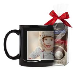 Love The Little Things Mug, Black, with Ghirardelli Premium Hot Cocoa, 11 oz, Black