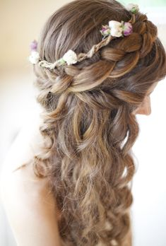 Brides: Half-Up Curly Hair with Braided Crown. Half-Up Braided Crown