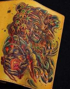 Handmade biker wallet yellow color carved Dance Tonlion leather long wallet for men