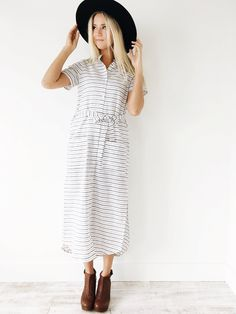 Linen Black + White Stripe Long Dress  Mandarin Collar w/Buttons Down Front  Waist Tie  Short Sleeve  Slightly Sheer  Above-Knee Slits on Sides