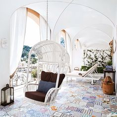 Capri Tiberio Palace Hotel - Terrace suite - Luxurious bedrooms and suites in… Luxury Rooms, Luxurious Bedrooms, Hanging Hammock Chair, Hanging Chairs, Capri Italy, Palace Hotel, Interior Decorating, Interior Design, Beautiful Hotels