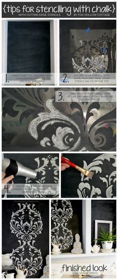 Stenciling in chalk on a chalkboard wall can have a very unique effect on home decor! http://www.cuttingedgestencils.com/damask-stencil.html