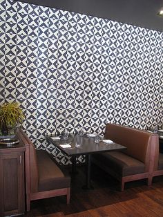 Cement tile wall at Taberna Mexicana in Beverly Hills.  This is Granada Tile's black and cream Serengeti-913A hand made cement tile. http://granadatile.com/instock.php