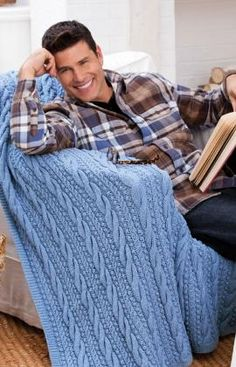 Cables and Bobbles Throw. Free~Knitting Pattern.