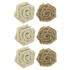 """Burlap English Roses  Mix it up with these Burlap English Roses. Embellish an assortment of paper crafting items with them! The flowers come in two shades of burlap. Easily attach the roses with craft glue or hot glue.  Dimensions:      Width: 1 3/4""""  Package contains 6 pieces 4.99"""