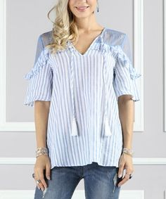 Look at this #zulilyfind! Blue Lace-Yoke Ruffle Tunic - Plus Too #zulilyfinds