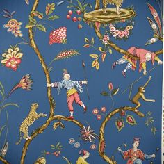 Scalamandre wallpaper at discount prices. Scalamandre has a love for big and bold patterns. is your authorized dealer for Scalamandre wallpaper. Scenic Wallpaper, Toile Wallpaper, Chinoiserie Wallpaper, Pattern Wallpaper, Amazing Wallpaper, Wallpaper Decor, Chinoiserie Fabric, Chinoiserie Chic, Monkey Wallpaper