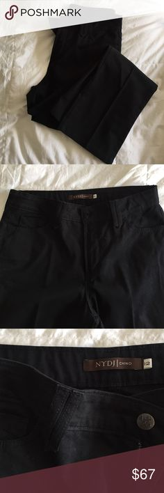 """NYDJ Black Chino In excellent condition and only worn twice!  The inseam measures 30"""" these have lift and tuck technology.  If you are not familiar with that technology, it basically makes you look super smooth from the waist to the hip. NYDJ Pants Straight Leg"""