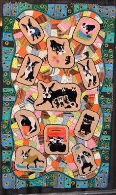 """Family""by Toshiko Maeda (Japan), 2012 Houston International Quilt Festival:  and the subject of the quilt is her three boston terriers and a pug. Photo by Tommy the Material Girl"