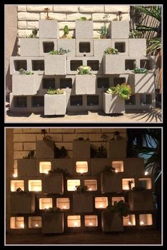 Series 1 of 4:  Suggestion: Use 8x8x8 and 8x8x16 cinder blocks to make a better arrangement. Adding the tea candles for a cozy evening. Put the mesh boxes (for better drain) with soil and succulents, cactus, or flowers.