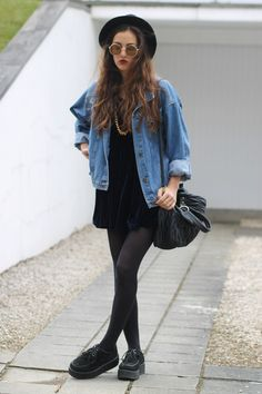 Vintage Denim jacket with Navy velvet dress, Round sunglasses, Hat, Black leggings & Black creepers shoes