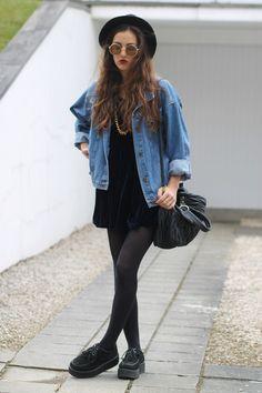 Vintage Denim jacket with Navy velvet dress, Round sunglasses, Hat, Black leggings & Black creepers shoes