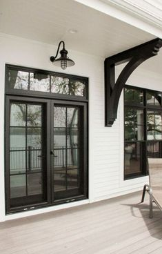 Exterior French Doors Patio Modern Farmhouse 43 Ideas in 2020 Black French Doors, French Doors Patio, Black Doors, Exterior French Doors, Black Windows Exterior, French Door Windows, Double French Doors, French Doors In Bedroom, Exterior Sliding Doors