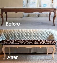 Take an old coffee table, some paint, foam padding, and fabric to create a bench seat for the foot of your bed. I would paint it black and upholster in cream fabric with fabric covered button tufting.