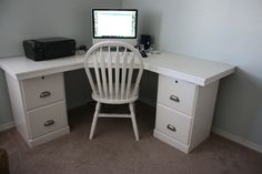 a great idea for making a corner desk, just find a surface that works and use a couple night stands to hold it up.