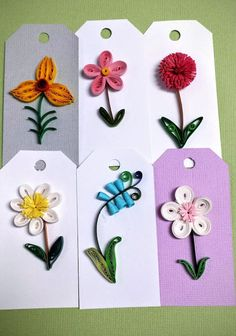 Paper Quilled Gift Tags- 6 Set  You can choose any flower. Gift tag with linen ribbon.  They are carefully hand-crafted, and covered with water-proof coating. Colourful linen ribbons are included.  If you would like a certain colour of the flower, message me, and I will do my best to meet your needs. These can be used for birthdays, weddings, anything you want. They will wrapped in bubblewrap, and safely sent to you by mail. For any questions you can message me.  In Canada customer -every…
