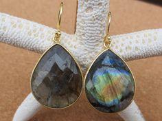 Labradorite tear drop earrings by PanachebyAmanda on Etsy, $50.20