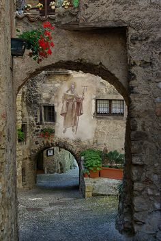 The medieval village of Canale di Tenno, Italy