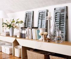 what a great way to recycle books and wooden shutters!