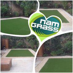 """Artificial grass install in Eclipse from , Cotswold buff gravel and Atlas as edging. Artificial Grass Installation, Artificial Turf, Lawns, Clever, Garden, Ideas, Astroturf, Garten, Lawn And Garden"