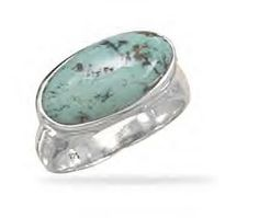 Ring With Genuine Oval Turquoise