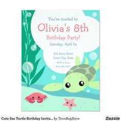 Shop Cute Sea Turtle Birthday Invitation created by ToonBugStore. Personalize it with photos & text or purchase as is! Turtle Birthday Parties, Turtle Party, 8th Birthday, Birthday Ideas, Animal Birthday, Birthday Gifts, Kids Animal Party, Diy Birthday Invitations, Wedding Invitations