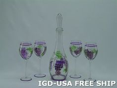 Antique English wine Glass 5-Pc Set Hand-Painted Grape Red Wine Liquor set of 5 Free Ship. XM3625-ITE by Imported Gift Depot. $57.45. One Of The Best And Gorgeous Imports Available At The Imported Gift Depot.. High Quality Antique English wine Glass 5-Pc Set Hand-Painted Grape Red Wine Liquor set of 5 Free Ship.. Design Was Stylish And Innovative Satisfaction Ensured.. It Makes A Great Gift For Any Occassion and Someone Special.. Manufactured At The Highest Quality Availa... Wine Glass, Glass Vase, English Wine, Wine And Liquor, Red Wine, Great Gifts, Drinkware, Hand Painted, Antiques
